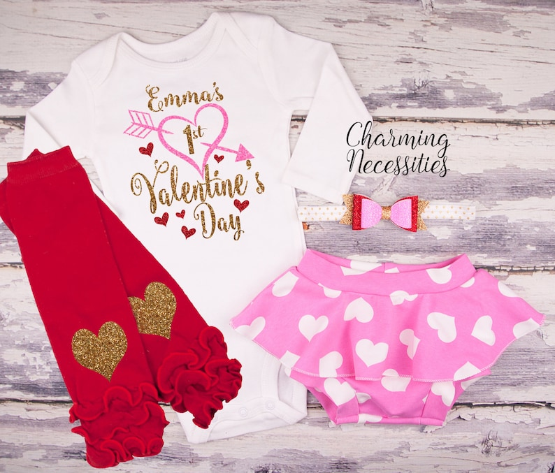 a117fb96ffcc Personalized First Valentines Day Baby Girl Valentine Outfit