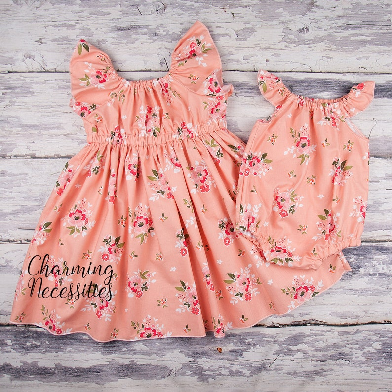 Big Sister Little Sister Matching Outfits Matching Outfits for Toddler Girl and Baby Pictures Newborn Girl Sibling Gift light apricot floral