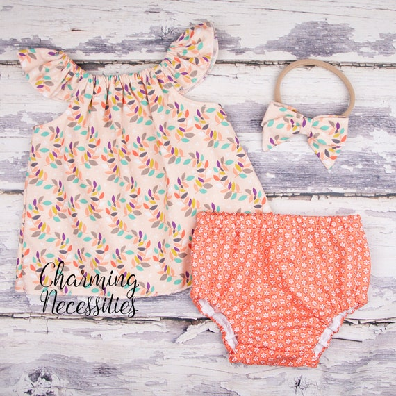 f95704e3760a Modern Coral Floral Baby Girl Outfit Flutter Top Bow Toddler