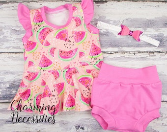 Size 12mo Ready to Ship Watermelon Flutter Sleeve Peplum Top Bloomies Outfit, First Birthday Set, One in a Melon Baby Toddler Girl Clothes