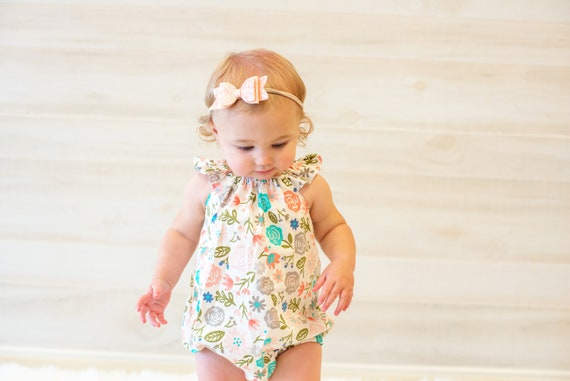 52a870ec758e Blush and Gray Floral Romper Flutter Baby Bubble Newborn