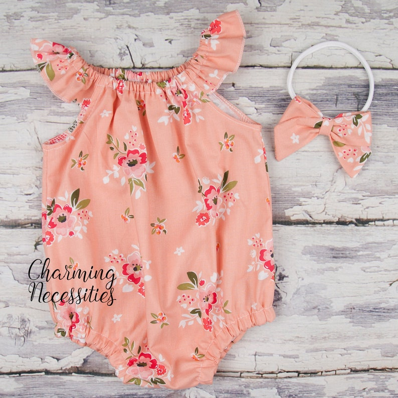 4b7c7ff3c Light Apricot Floral Romper Bow Baby Girl Clothes Summer Boho | Etsy
