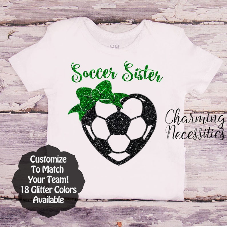 92bdd0482d85d Soccer Sister Shirt, Fan, Toddler Girl Clothes, Baby Girl Outfits, Custom  Personalized Heart with Bow Charming Necessities SS