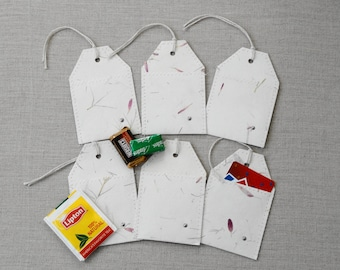 All Occasion Gift Card Holders Gift Tags, Treat Holders, Handmade Paper with Pressed Flowers and Leaves