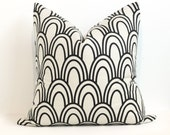 "FALL CLEARANCE SALE 24"" Studio Bon Scallops in Black Pillow Cover"