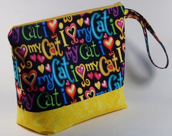 Love My Cat Large Knitting Project Bag - Cat Theme Large Project Bag - Zippered Project Bag - Crochet Project Bag