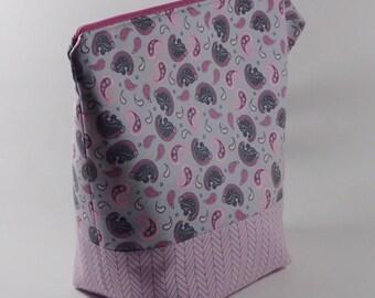 Pink and Grey Paisley Knitting Project Bag - Tall Sock Project Bag - Zippered Project Bag - Crochet Project Bag - Tall Project Wedge Bag