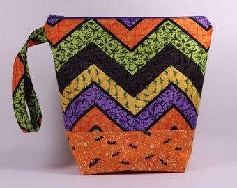 Halloween Chevron Knitting Project Bag - Tall Sock Project Bag - Zippered Project Bag - Crochet Project Bag - Tall Project Wedge Bag