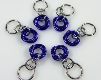 Purple Stitch Markers - Basic Stitch Marker Set - Chainmaille Stitch Markers - Moebius Stitch Marker - Knitting Marker - Knitting Gift