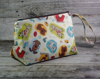 Dog Knitting Project Bag - Puppy Sock Project Bag - Zippered Project Bag - Crochet Project Bag - Wedge Bag - Puppies