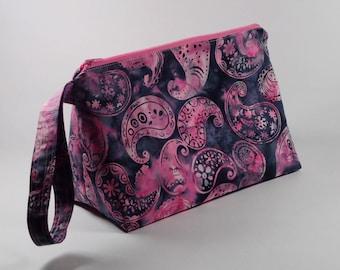 Pink and Gray Batik Paisley Knitting Project Bag - Wedge Sock Project Bag - Zippered Project Bag - Crochet Project Bag - Batik Flowers