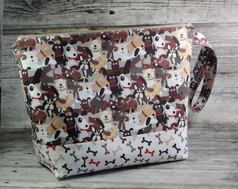 Happy Dogs Large Knitting Project Bag - Puppy Large Project Bag - Zippered Project Bag - Crochet Project Bag - Dog Love