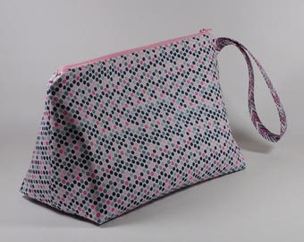 Pink and Gray Polka Dot Knitting Project Bag - Wedge Sock Project Bag - Zippered Project Bag - Crochet Project Bag - Chevrons