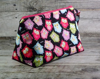 Bright Owls Project Bag - Cheerful Sock Project Bag - Zippered Project Bag - Crochet Project Bag - Wedge Bag - owl, Bird, bright
