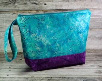 Beautiful Batik Fabric Large Knitting Project Bag - Bright Large Project Bag - Zippered Project Bag - Crochet Project Bag - Large