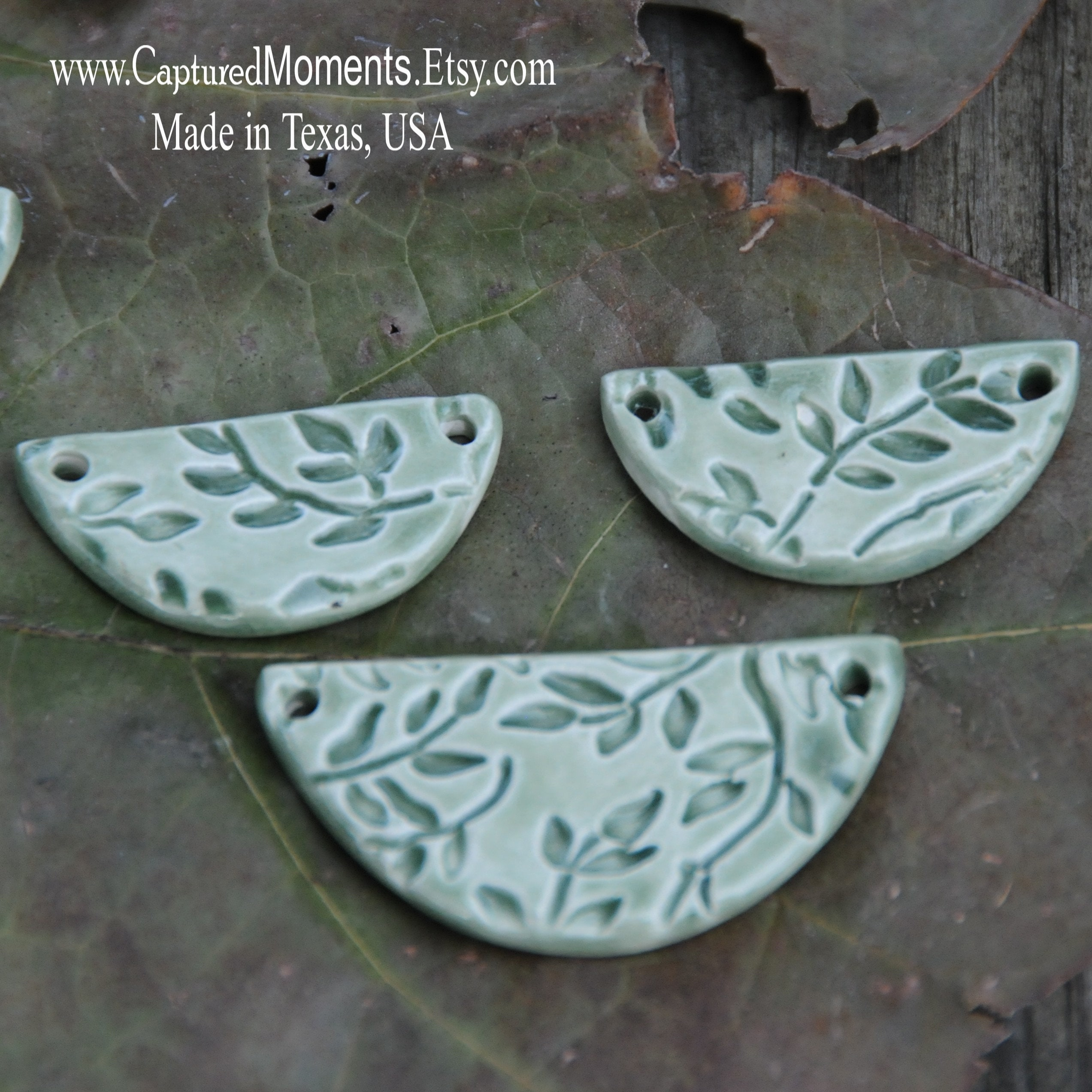 Sweet Little Green Tea Leaves in a half circle pottery beads set of 3