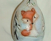 Fox Gourd Christmas Tree Ornament - Hand Painted Baby Animal Gourds