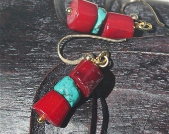 Earrings red coral and turquoise rondelles  earring dangles gold filled ear wires OOAK jewelry