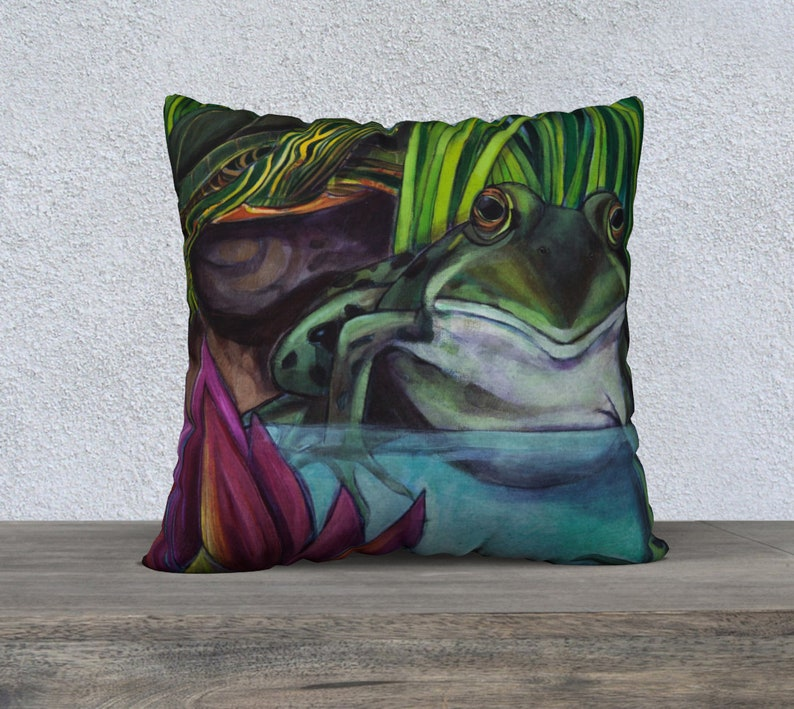 Decorative Cushion Covers 22 x 22 Frog and Turtle Throw Pillow Super soft Velveteen or Upholstery Canvas Home Decor