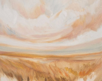 Through Fields of Dried Flowers, Fine Art Print Reproduction of a Landscape Painting by Emily Jeffords