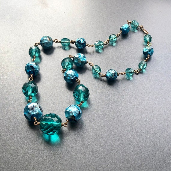 Vintage Deco 1 to 3 strand filigree openwork necklace box clasp signed Czechoslovakia
