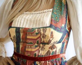 Lush novelty print Clothes by Samuel Sherman vintage 1970s gypsy peasant dress