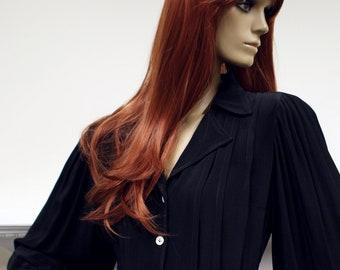 Elegant black crepe Sujon boutique 1970s vintage balloon sleeve pintuck midi dress
