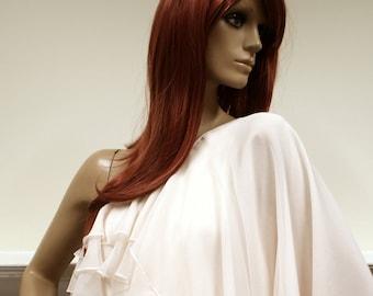 Frothy cream chiffon John Bates for Jean Varon 1970s one sleeved goddess maxi dress