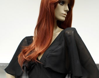 Dramatic film noir Thirties inspired Bourgeouis boutique 1970s fishtail caped evening dress