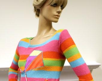 Rainbow knit John Ashpool 1970s vintage sweater jumper with kite appliqué