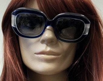 Glam oversized Jean Patou original 1970s vintage blue Orlux plastic sunglasses