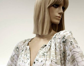 Bohemian Indian cotton Mayur vintage 1970s/1980s green and metallic silver stripe blouse top