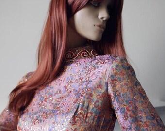 Luxe bohemian Ricci Michaels ornate metallic brocade vintage 1960s/1970s kaftan maxi dress