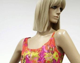 Psychedelic Ken Scott Frank Usher vintage 1960s butterfly print banlon jersey maxi dress