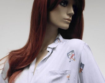 Rare Beatles novelty print Fiorucci 1970s/1980s vintage blouse shirt