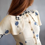 Incredible Ossie Clark caped moss crepe 1970s midi dress with Celia Birtwell print