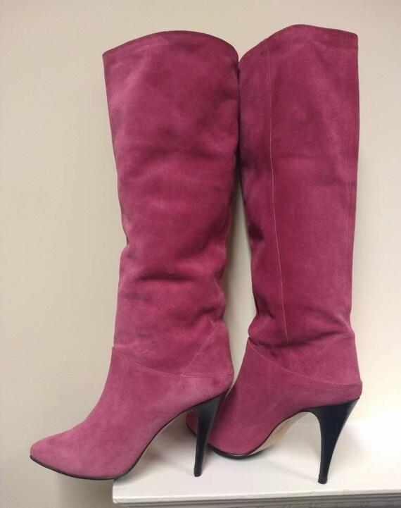 Bubblegum pink glam suede Sacha 1970s/1980s vintag