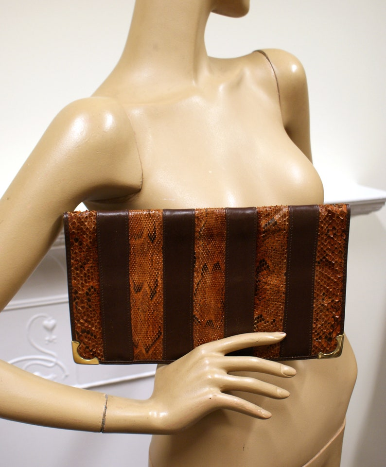 Stunning brown snakeskin and leather striped 1970s vintage image 0