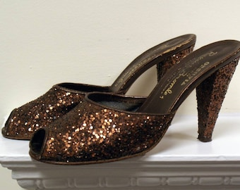 Phenomenal glitter Glam Rock chocolate brown 1970s vintage cone heeled mules shoes 38