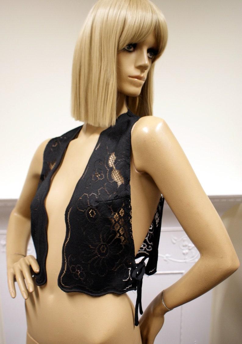 Sultry bohemian black lace vintage 1970s British Boutique image 0