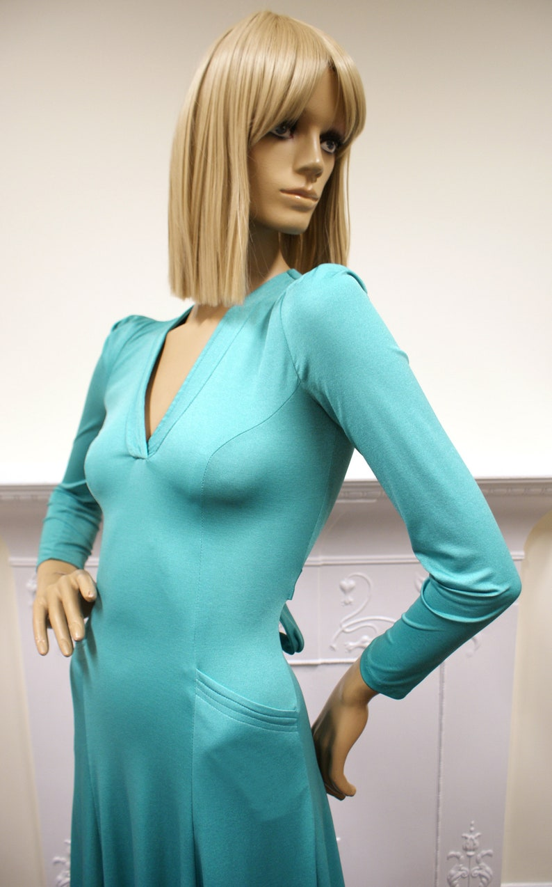Glam rock Xenia boutique vintage 1970s turquoise stretch image 0