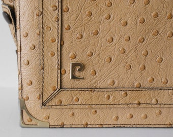 Elegant and luxurious ostrich leather Pierre Cardin 1980s vintage handbag purse