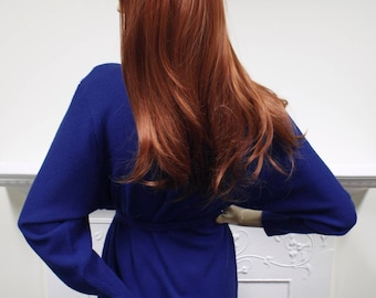 Vivid cobalt blue vintage 1980s Kriss batwing knitted acrylic belted jumper sweater dress