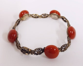 Stunning art deco 1930s vintage antique Carnelian-coloured glass bead and metal link bracelet
