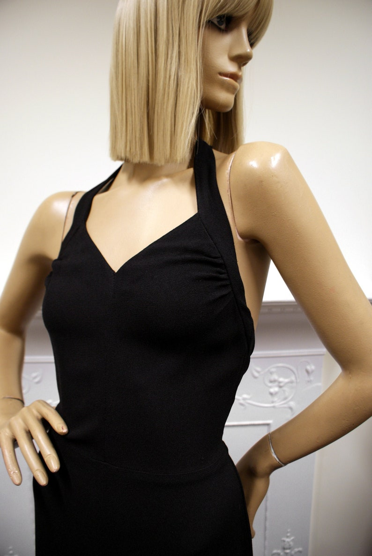 Glam Radley of London British Boutique black moss crepe 1970s image 0