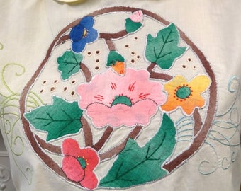 Art Deco applique vintage 1930s sleeveless primrose cotton Peter Pan collar blouse top