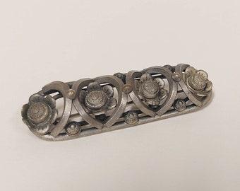 Unusual German Art Deco machine age floral 1930s vintage brooch pin
