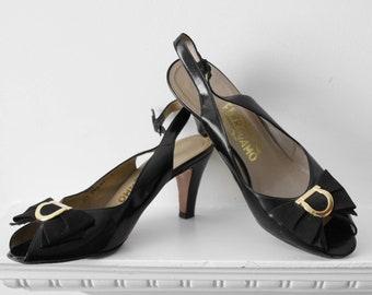 Beautiful black leather Salvatore Ferragamo 1970s/1980s vintage slingback heeled shoes UK6.5/7