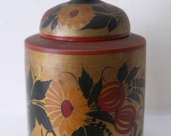 Art Deco 'foreign' stamped lacquer papier mache vintage 1920s/1930s painted lidded pot