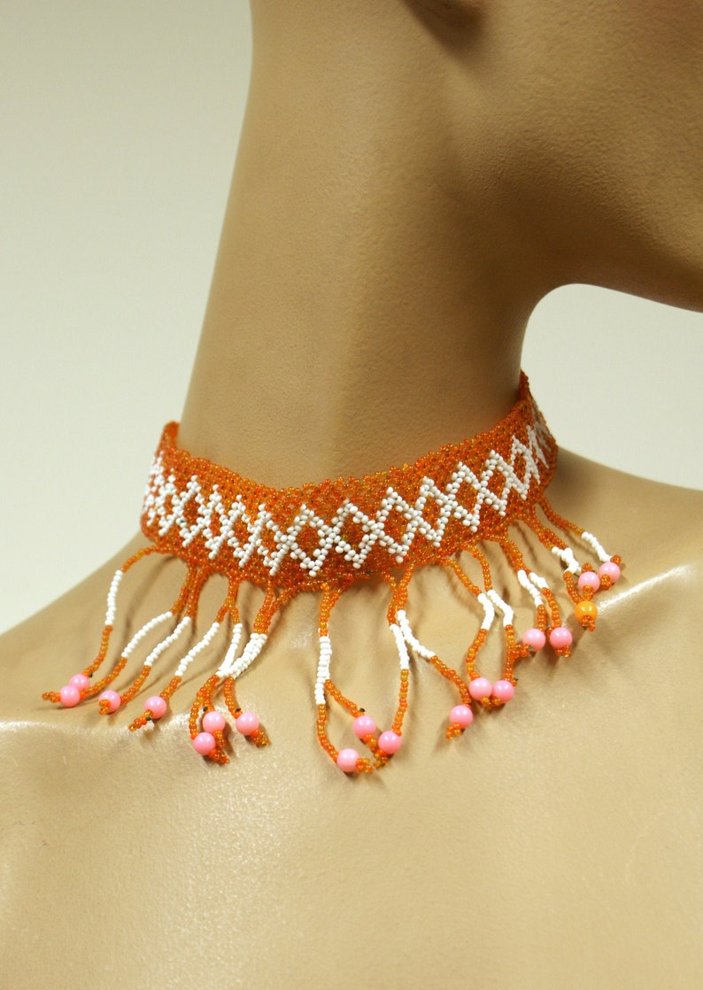 Original bohemian late 1960s/early 1970s beaded fringed choker image 0